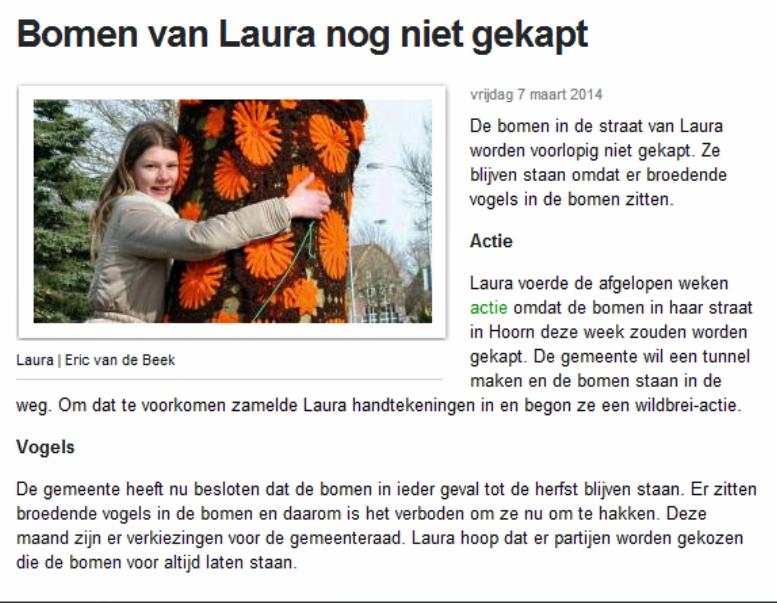 Jeugdjournaal bomen van Laura nog niet gekapt 07032014