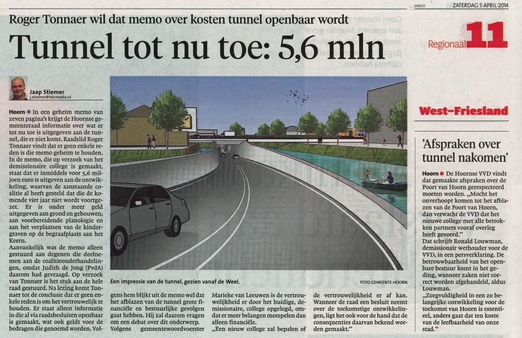 NHD 05042014 Kosten tunnel tot nu toe 5,6 mln