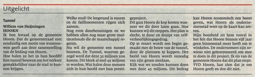 NHD Willem van Heijningen over de Tunnel 01032014