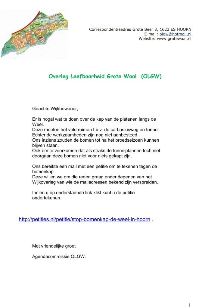 Petitie bomenkap de Weel, brief Bewonersoverleg Grote Waal