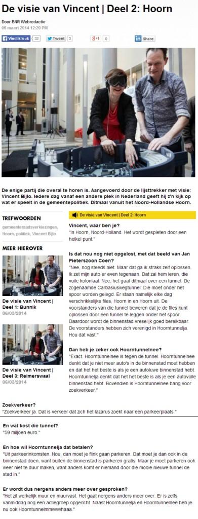 Vincent Bijlo over de Tunnel in Hoorn op BNR 060302014